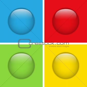 Set of Four Glass Circle Buttons