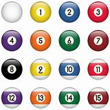 Colored Pool Balls Set from Zero to Fifteen