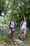 Couple backpacking in the countryside