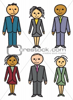 Six Drawn Business People