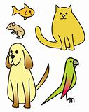 Five Cartoon Pets