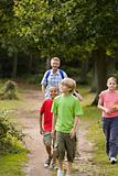 Teacher and pupils walking