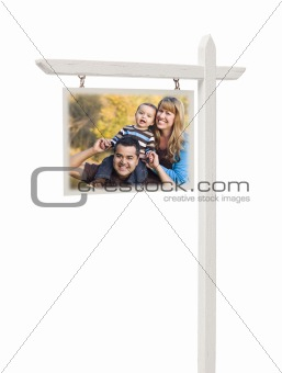 Isolated Real Estate Sign with Clipping Path and Happy Mixed Race Family.