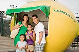 Family at lemonade stall