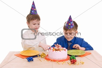 two boy wich cake