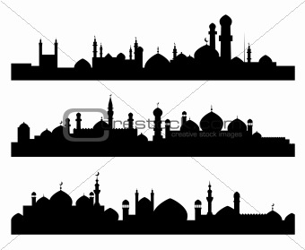 Muslim cities silhouettes