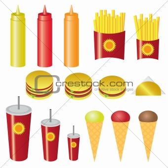 Set of fast food.