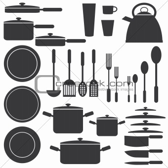 Kitchen utensils in white and black colours.