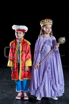 Portrait of children dressed as a prince and queen