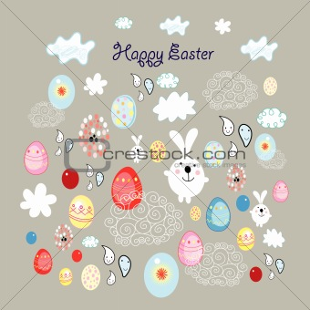 Easter card with eggs and bunnies