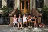Kids on steps