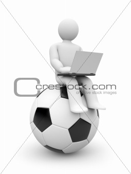 Football journalist or fan work on laptop