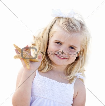 Adorable Little Blonde Girl with Starfish Isolated on a White Background.