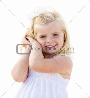Adorable Little Blonde Girl Having Portrait Isolated on a White Background.