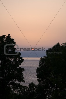 Sunset at lake ohrid