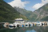 Boats in geirangerfjord