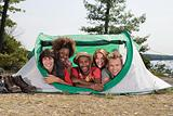 Friends in a tent