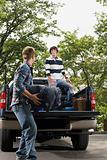 Friends and pick up truck