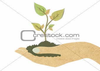 Green leaf with hand recycled paper craft