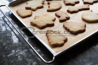 Christmas cookies on a baking tray