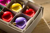 Christmas baubles in a box