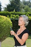 Woman pruning a leyland cypress