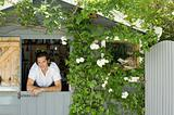 Man in garden shed