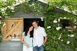 Couple by garden shed