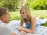 Couple on blanket in garden