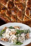 Pita bread served with cheese,butter, walnuts and fresh parsley