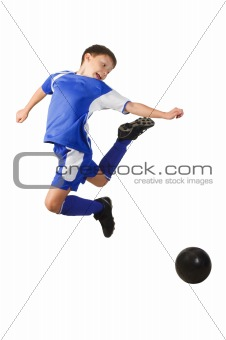 A young boy football player