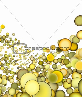3d render abstract multiple yellow bubble backdrop