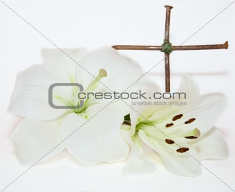 crucifix and Easter white Lily