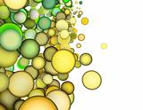 3d render abstract multiple green yellow bubble backdrop