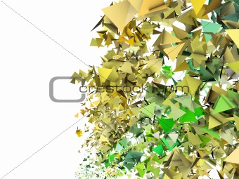 3d render abstract yellow green fragmented backdrop