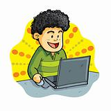 Boy Playing Laptop