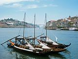 Rabelo boats on douro river porto