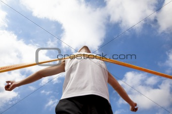 Winning runner with cloud background
