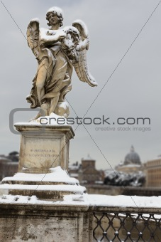 Angel with thorn crown on Sant Angelo Bridge, Rome (Italy).