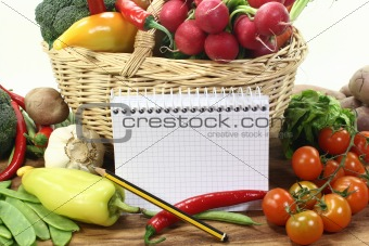 Purchasing paper with pencil and vegetables