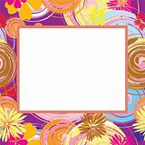 Abstract frame with flowers and oval elements