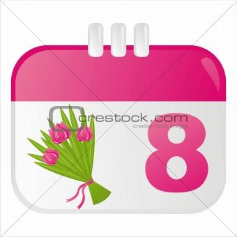 8th of march calendar icon