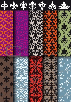 seamless baroque patterns, vector