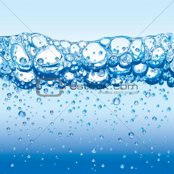 Water with sparkling bubbles and froth