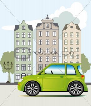 Green car in the city