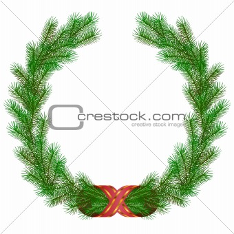 Christmas fir branch wreath frame isolated on white