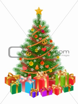 decorated christmas tree, presents, isolated on white