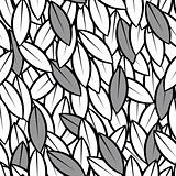seamless abstract leaves background black and white