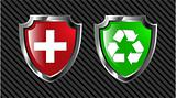 the set vector red and green shield
