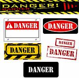 vector grunge danger banner set